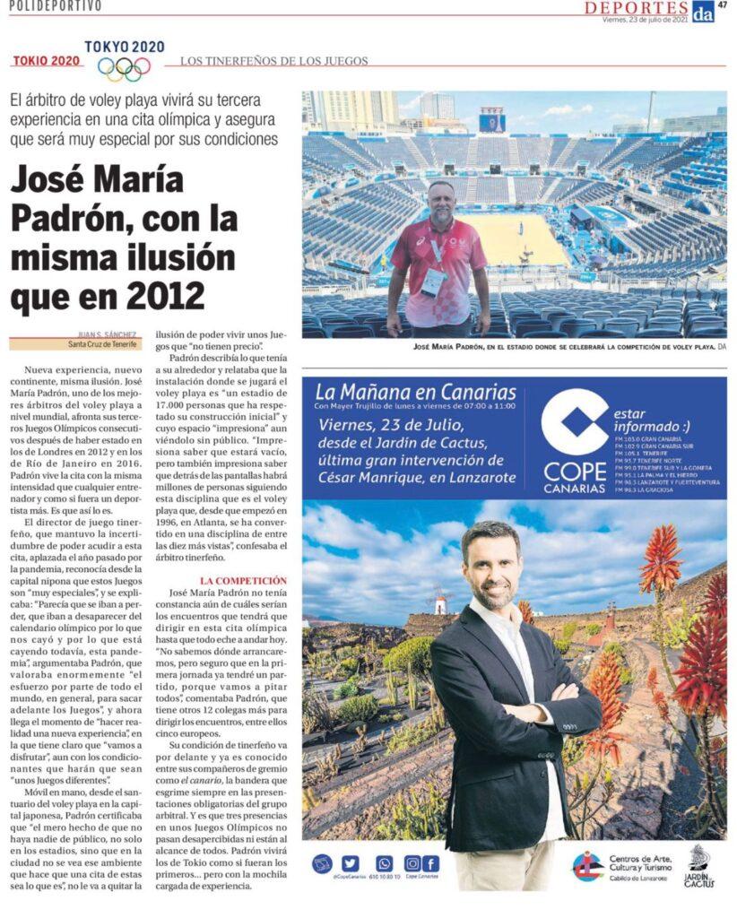 Artículo de Diario de Avisos sobre José María Padrón.